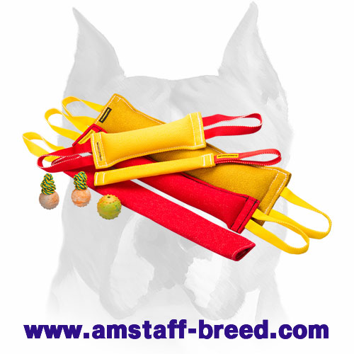 Amstaff set of bite tugs with handles for professional training