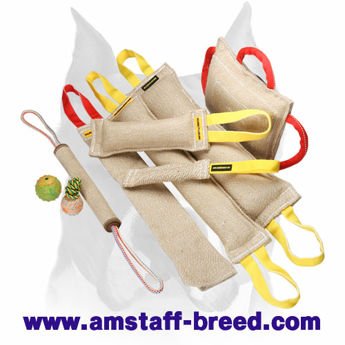 Durable set of bite tugs made of Jute for Amstaff training