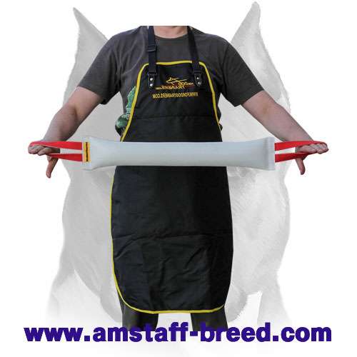 Amstaff long bite tug made of fire hose for training adult dogs