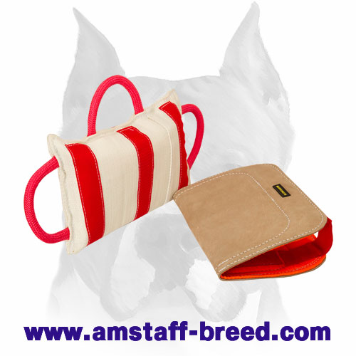 Bite pillow with 3 strong handles for efficient Amstaff training