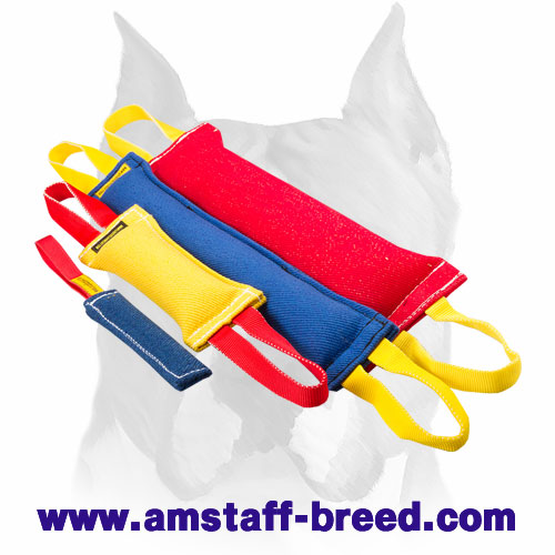 Amstaff reliable set of bite tugs with handles for training