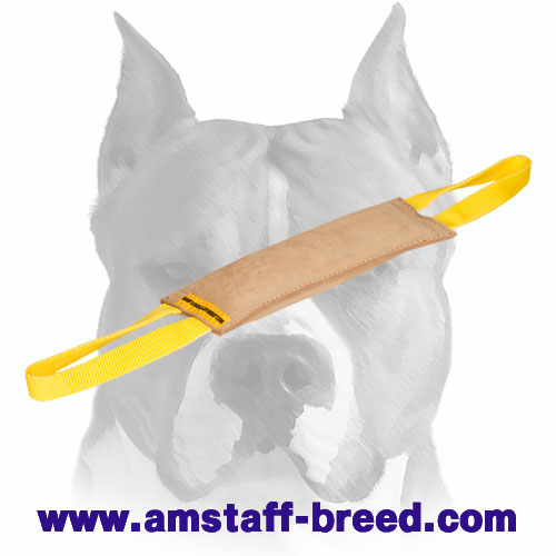 Durable bite tug with 2 nylon handles for Amstaff training and playing