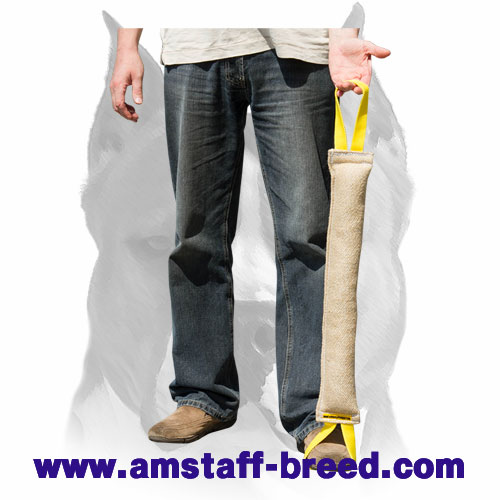 Jute bite tug with 2 handles for training Amstaff breed