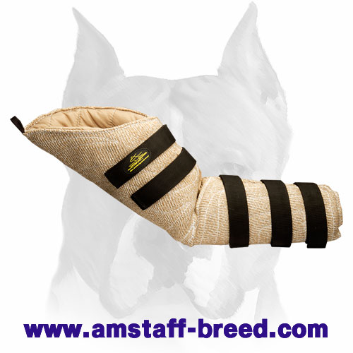 Convenient jute hidden protection bite sleeve for Amstaff