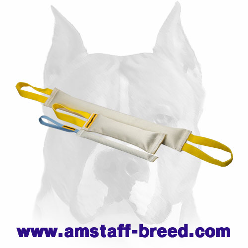 Strong training set of bite tugs with handles for Amstaff