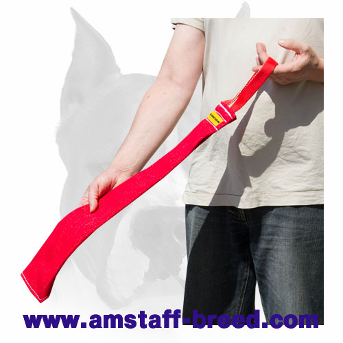 Amstaff bite rag with nylon handle for puppy prey drive training