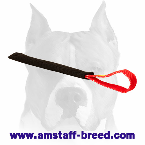 French linen bite tug with durable handle for training Amstaff puppies