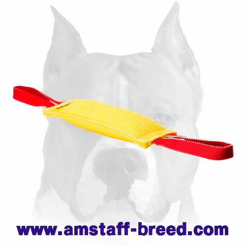 Amstaff durable French linen puppy bite tug for training and playing