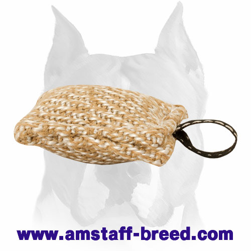 Strong Jute puppy bite tug pocket-size for training Amstaff breed