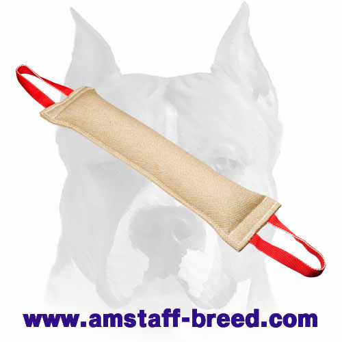 Strong Jute bite tug with 2 nylon handles for training Amstaff breed