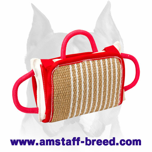 Strong bite pillow with comfortable handles for training Amstaff breed