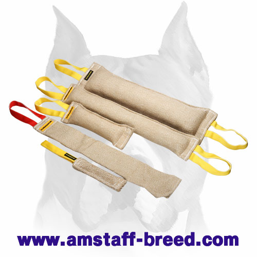 Amstaff set of bite tugs with handles for training