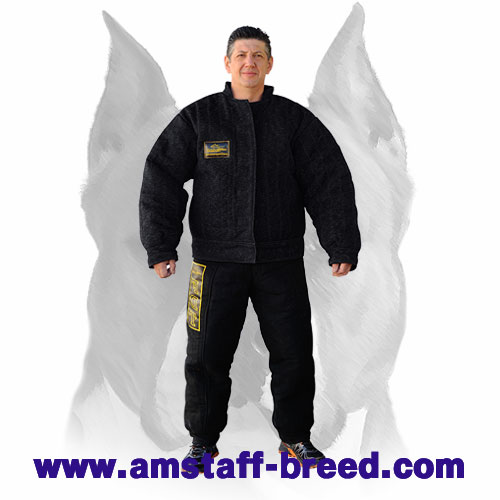 Amstaff strong French linen dog bite suit
