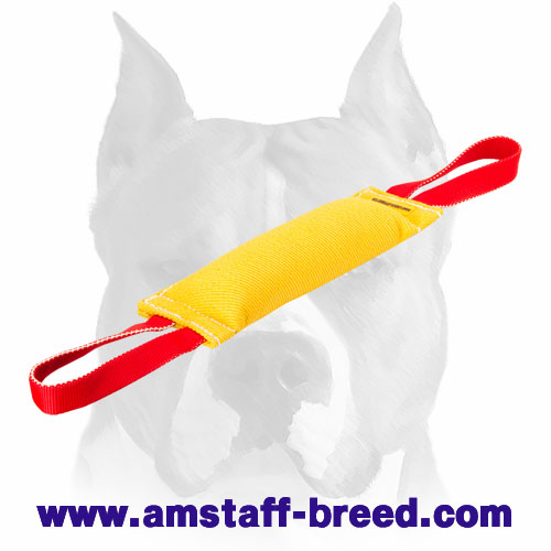 French linen puppy bite tug with 2 nylon handles for training Amstaff breed