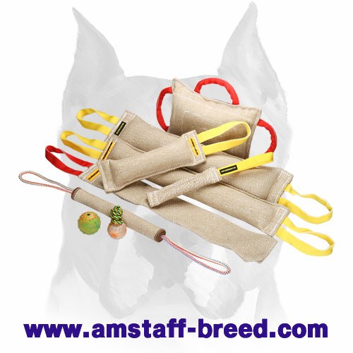Amstaff Jute set of bite tugs for training and playing