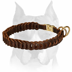 Full grain leather dog collar with fancy braid