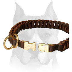 Braided leather dog choke collar for Amstaff