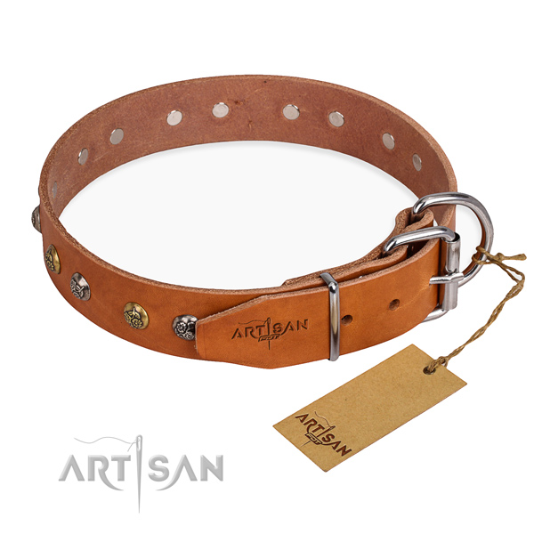 Strong genuine leather dog collar made for stylish walking