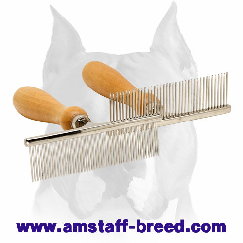 """Hair Designer"" Amstaff Comb with Wooden Handle"