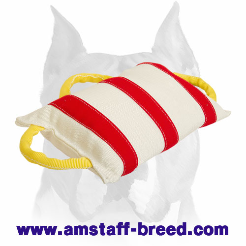 Amstaff Handstitched Wide Jute Bite Pillow with Three Comfy Handles