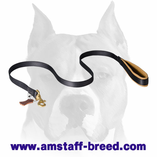 Amstaff Nylon Dog Leash with Nappa Padded Handle