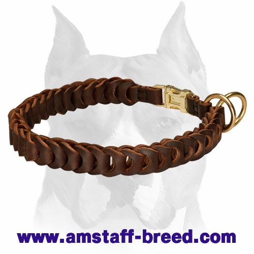 Amstaff Braided Leather Choke Collar with Quick Release Buckle