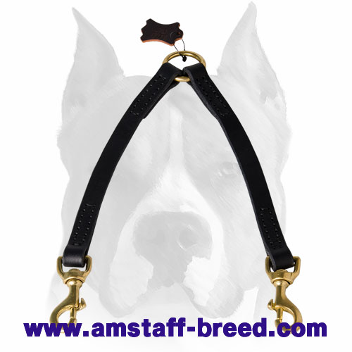 Amstaff Stitched Leather Dog Coupler Leash for 2 Dogs