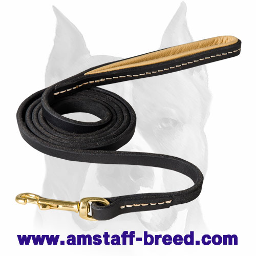 Amstaff Soft Handle Leather Dog Leash with Stitching