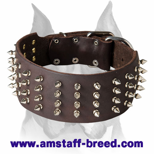 Amstaff Extra-Large 3 Inch Leather Dog Collar with Spikes
