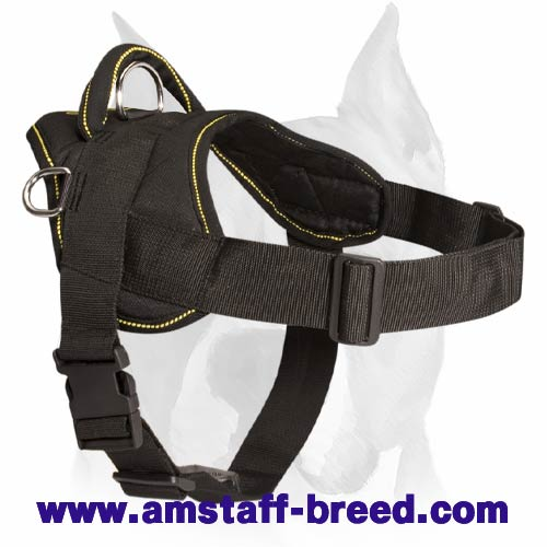 Amstaff Dog Nylon Harness for Pulling and Walking