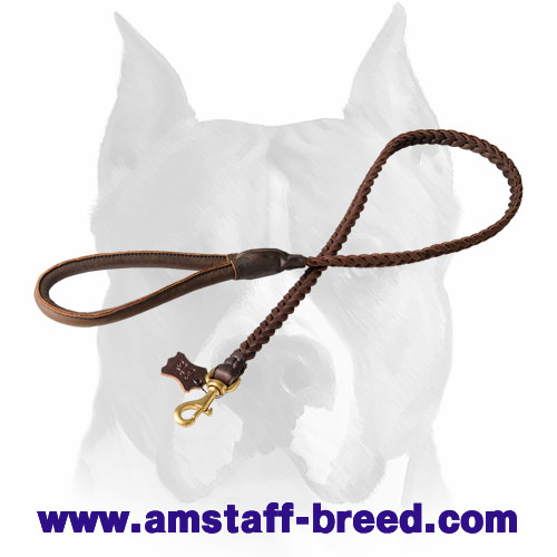 Amstaff strong natural leather dog leash