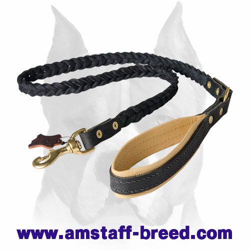 Leather dog leash with Nappa padded handle for Amstaff