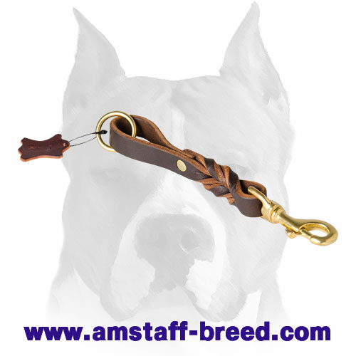 Amstaff pure leather dog leash