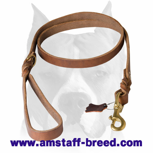 Leather dog leash with rust-proof hardware for Amstaff