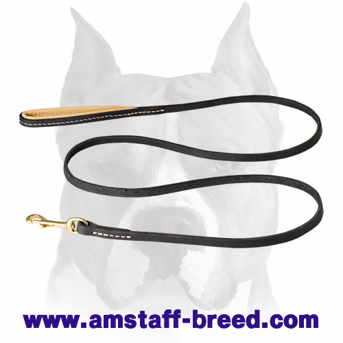 Leather Amstaff leash for walking and training