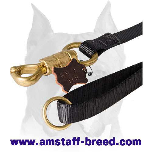 Amstaff nylon dog leash with handle