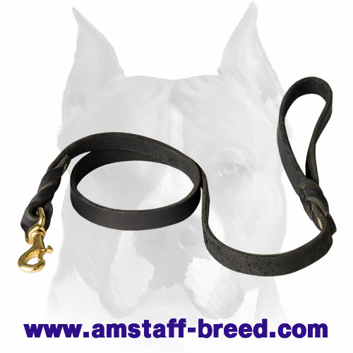 Amstaff genuine leather dog leash with braids