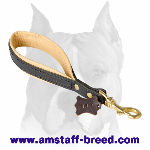 Natural leather short dog leash with corrosion-free hardware for Amstaff