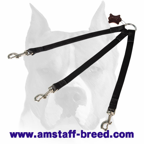 Stitched manually nylon straps dog coupler for Amstaff