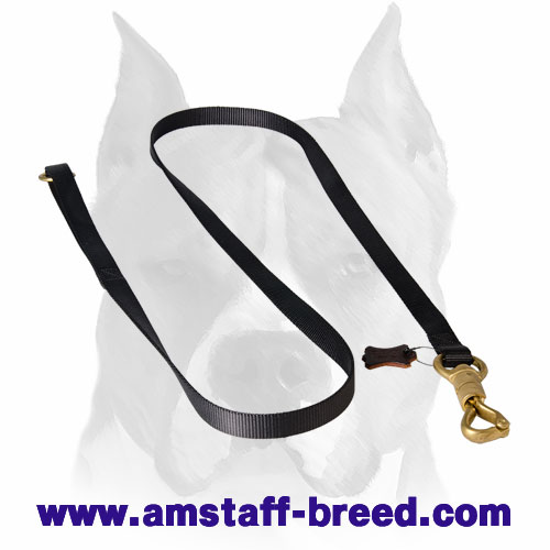 Short nylon dog leash with rust-resistant fittings for Amstaff