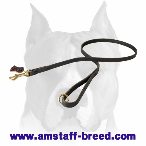 Leather Amstaff leash