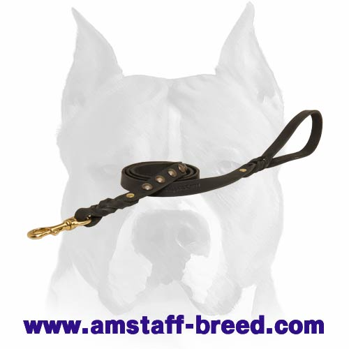 Amstaff leather dog leash with soft handle