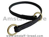 Silent leather training choke collar  for Amstaff dog
