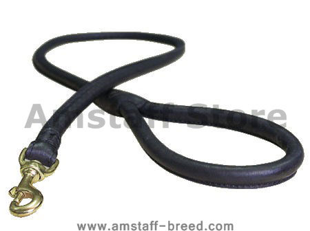 Leather Latigo Round Lead for Amstaff