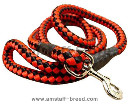 5 foot Round Nylon Leash With Brass Snap for Amstaff