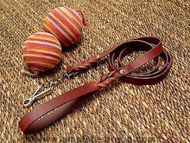 Leather dog leash with quick release snap hook for amstaff dog