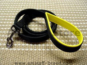 Nylon dog leash with support material on the handle  for Amstaff dog